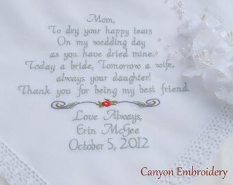Personalized Mother of the Bride Hankie Custom Embroidered Hankie Handkerchief By Canyon Embroidery