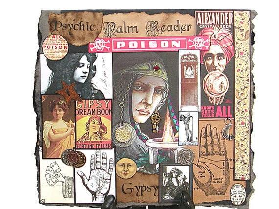 Greeting Card, Gypsy Fortune Teller, Handmade Card, Collage Card, Gypsy, Card, Gypsy Greeting Card,