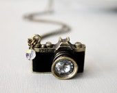 Camera Necklace. black leather camera necklace. miniature camera. unique camera. long chain camera