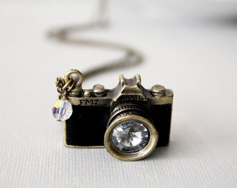 Camera Necklace. black leather camera necklace. miniature camera. unique camera. long chain camera
