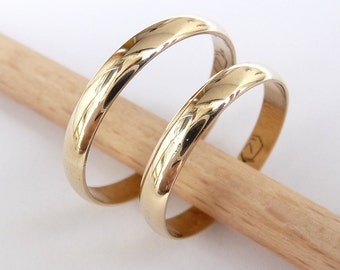 Wedding bands set 14k gold women men rings 3mm wide by 1mm thick classic wedding rings commitment rings