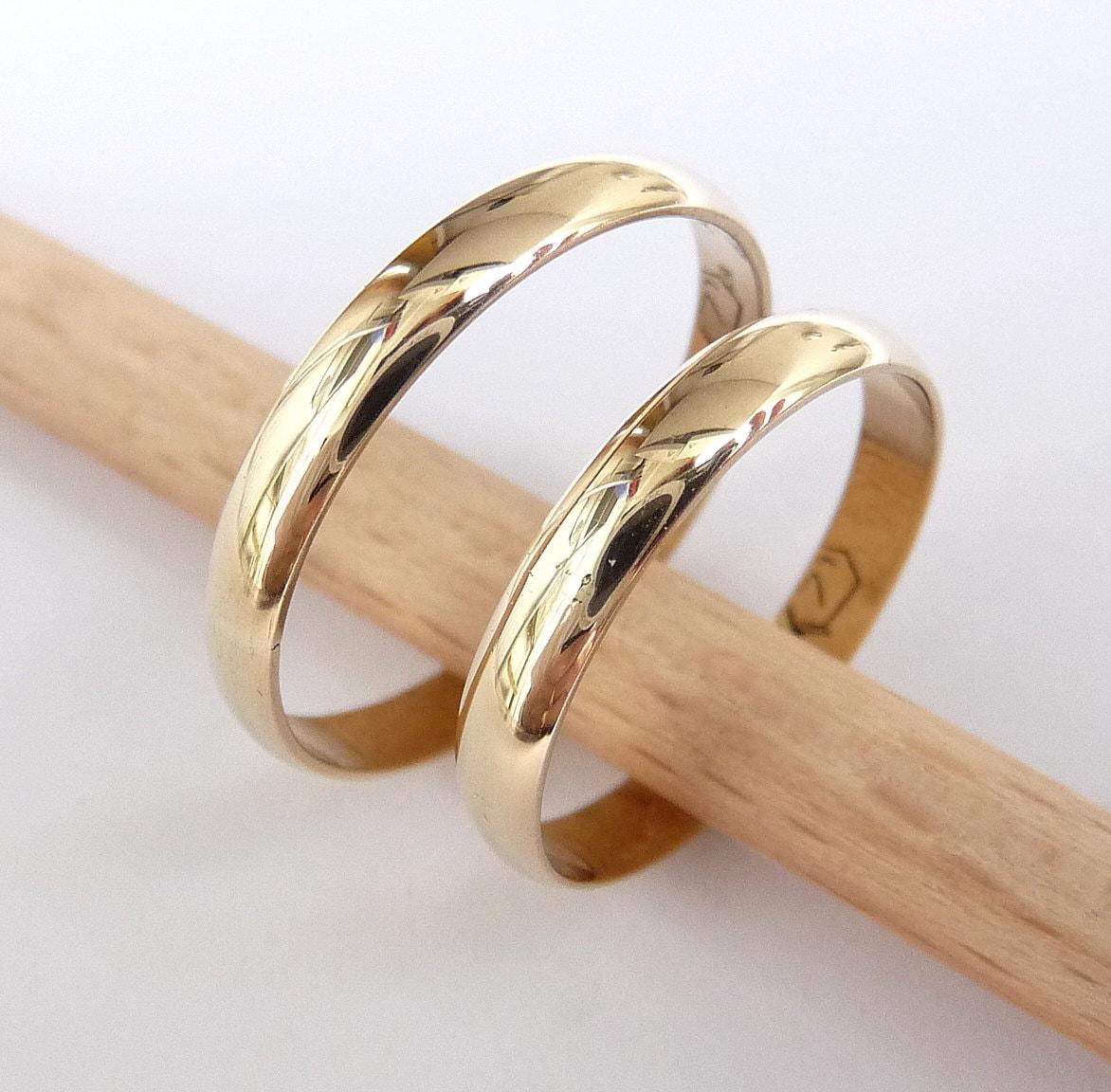 Wedding bands set 14k gold women men rings 3mm wide by 1mm