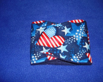 Stars and Stripes - Red, White and Blue - Patriotic Hearts and Stars - Male Dog Diaper - Belly Band