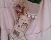 Romantic Personalized French Vintage Style Christmas Stocking