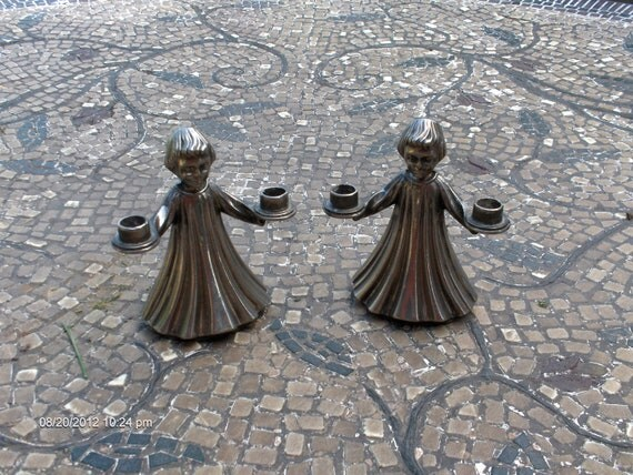 Vintage Silver Plate Alter Boys / Angel Candle Holders