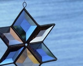 Stained Glass Star - 3D Blue and Champagne Beveled Glass with Copper Lines - Medium
