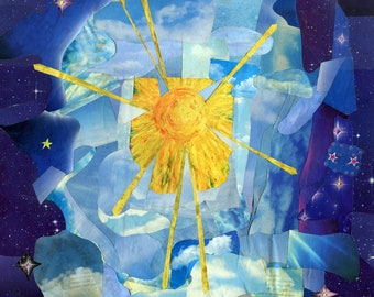 """Sun and Moons Collage 8""""x12"""" Print - hard backing"""
