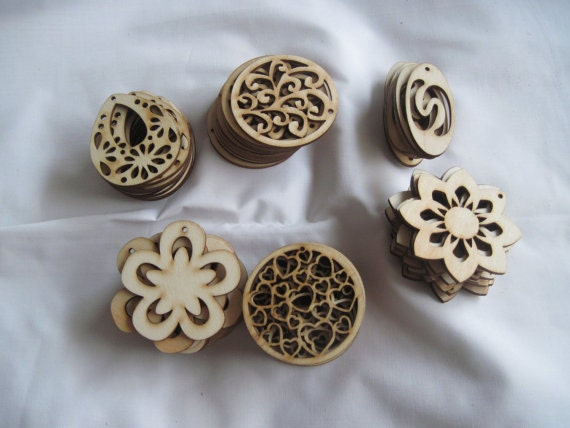 Unfinished wood pendants by Banglewood Crafts