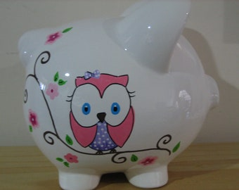 Personalized Piggy Bank Owl, Cherry Blossom- Flower Girl,Newborn, Baby Shower Gift Centerpiece