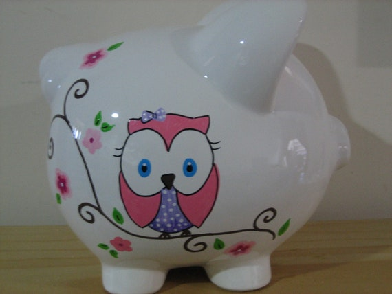 Items Similar To Personalized Piggy Bank Owl Cherry