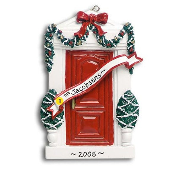 Items similar to personalized christmas ornament red door for First apartment ornament