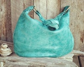 Sale Bright Teal Leather Hobo Bag With a Braided Strap