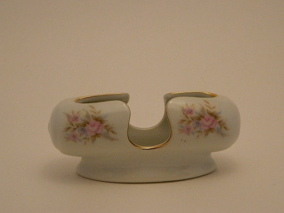 Vintage Toothpick Holder - Lefton China  6436 - Hand Painted Roses