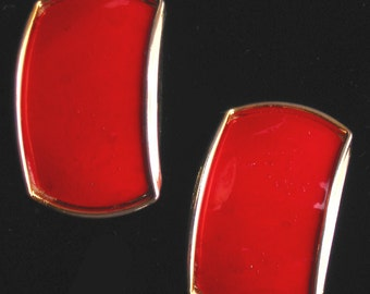 Vintage 80s - Red and gold clip earrings