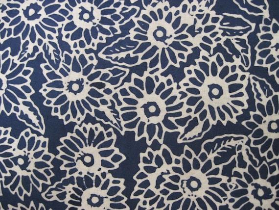 Blue and White Floral Batik Print  Fabric 1yd