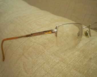 Silver Rectangle Rimless Vintage VERSACE Eyeglass Frames