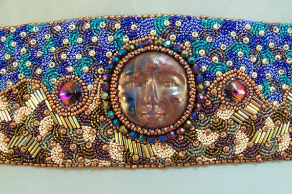 Moonrise Bead Embroidered Cuff Bracelet RESERVED