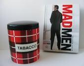 Tobacco Jar Tin Humidor Red Black Geometric Plaid Mad Men