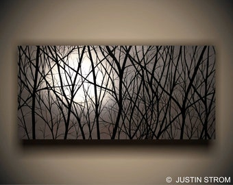 Moonlight Painting, Moonlight Print, Night Sky Painting, Night Sky Print, Moon Painting, Moon Print, Nature Painting, Landscape Art, Trees