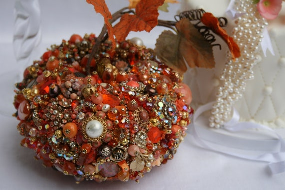 Vintage Rhinestone PUMPKIN Art Sculpture FALL Bejeweled Home Decoration Orange Vintage Jewelry