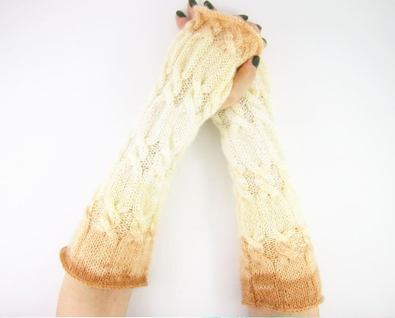 long cable knit fingerless gloves knit arm warmers fingerless mittens ombre cream honey brown neutral fall fashion curationnation