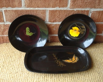 Vintage Courac of California Butterfly and Poppy Bowls and Tray