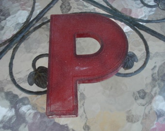 Vintage Mid Century Modern Marquee Sign Letter Red P