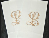 Pair of Linen Blend hand towels embroidered / monogrammed / personalized with single letter in two color monogram