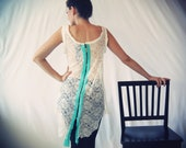 CYBER MONDAY Asymmetrical Lace Ivory Blouse With Metalic Zipper And Aqua Details