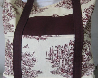 Large Burgandy Toile Tote