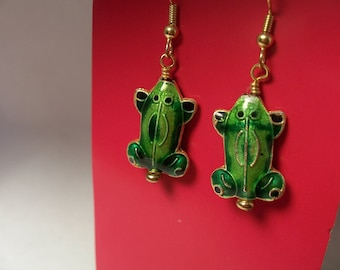 Frog Cloisonne Bead Earrings