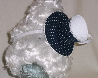 Teacup Fascinator- Navy and White Teacup Headband- Mini Hat