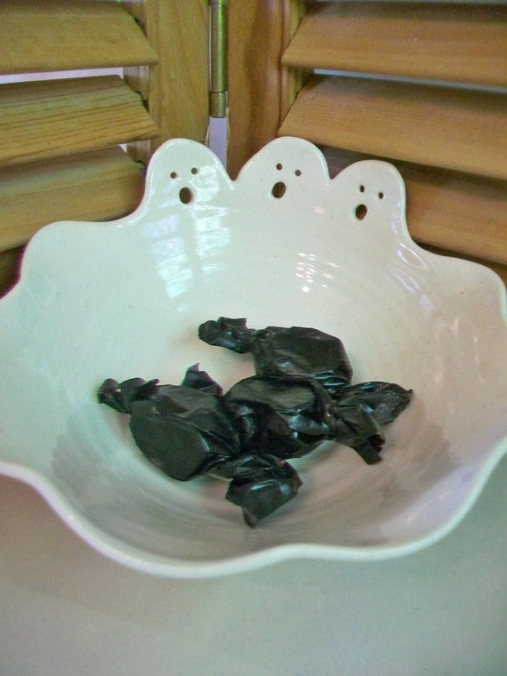 Ghost Bowl - Candy Dish, Halloween, Hand Carved, Hand Made on the Potters Wheel