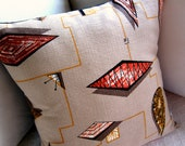 "Modern Retro Throw Pillow - 50s Vintage Barkcloth - Coral, Russet, Salmon, Gold on Tan - Shown with 18"" x 18"" insert"