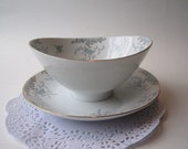 Mikasa Narumi Seville Blue Taupe Rose Gravy Boat with Attached Underplate - Vintage Chic