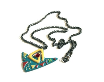 Gorgeous Abstract Art Vintage 80s 90s Triangle Sculpture Necklace