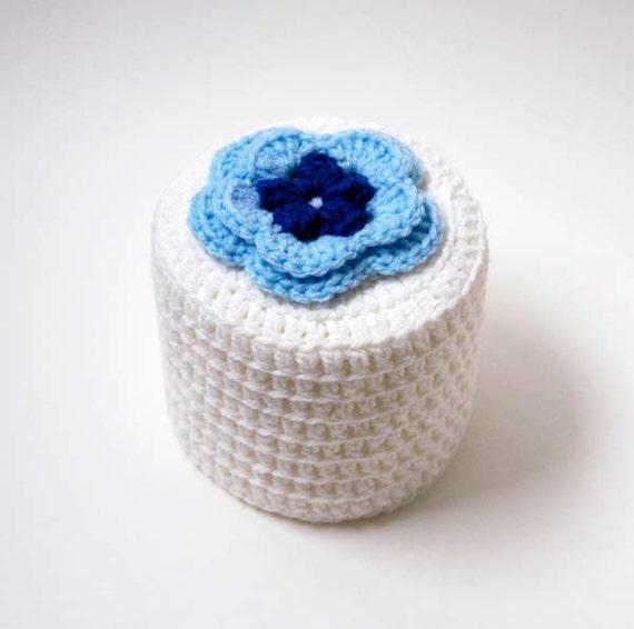 Cottage Rose Crochet Toilet Paper Cover, Chic Blue Flower, Bathroom Home Fashion