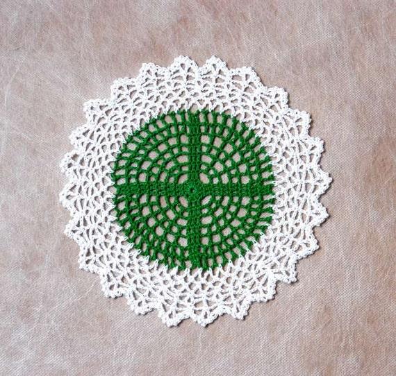 Cross and Lace Crochet Doily, Spiritual Fiber Art, Original Design by NutmegCottage, OOAK