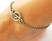 Steampunk G CLef Treble Anklet - Music Note Ankle Bracelet- Sterling Silver Ox Finish-