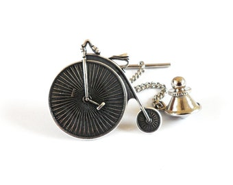 Steampunk Bicycle Tie Tack- Sterling Silver Ox Finish