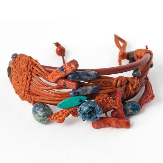 Orange Leather and Crochet Bracelet with Blue Crocheted Flower & Semi Precious Stones