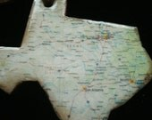 vintage map of texas ornament