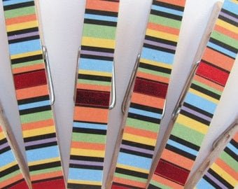 Decorated Clothespins or Fancy Chip Clip Striped Paper Set of 6 Bold Stripe