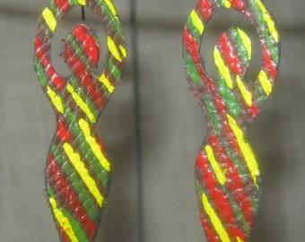 Handpainted Rasta Empress Leather Earrings