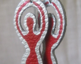 Handpainted Red Goddess Leather Earrings