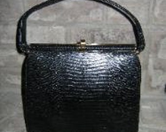 Vintage 1950's - 1960's Bellstone Black Leather Hand Clutch Dress Purse