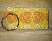 Modern Wristlet Purse - Orange and Yellow - Bangle Clutch -  Art Nouveau Print Wristlet - Industrial meets Nouveau - City Clutch