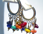 Chandalier Earrings 14kt GOLD Hoop One of a Kind Handmade by Lisajoy Sachs Design Size Small Perfect for a Gift Rainbow Lampworked Beads