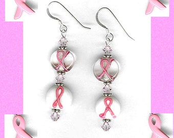 pink ribbon earrings two glass beads sterling silver gold-filled pierced clip