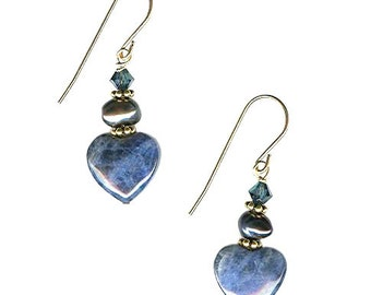 Sodalite 12mm heart earrings gold-filled